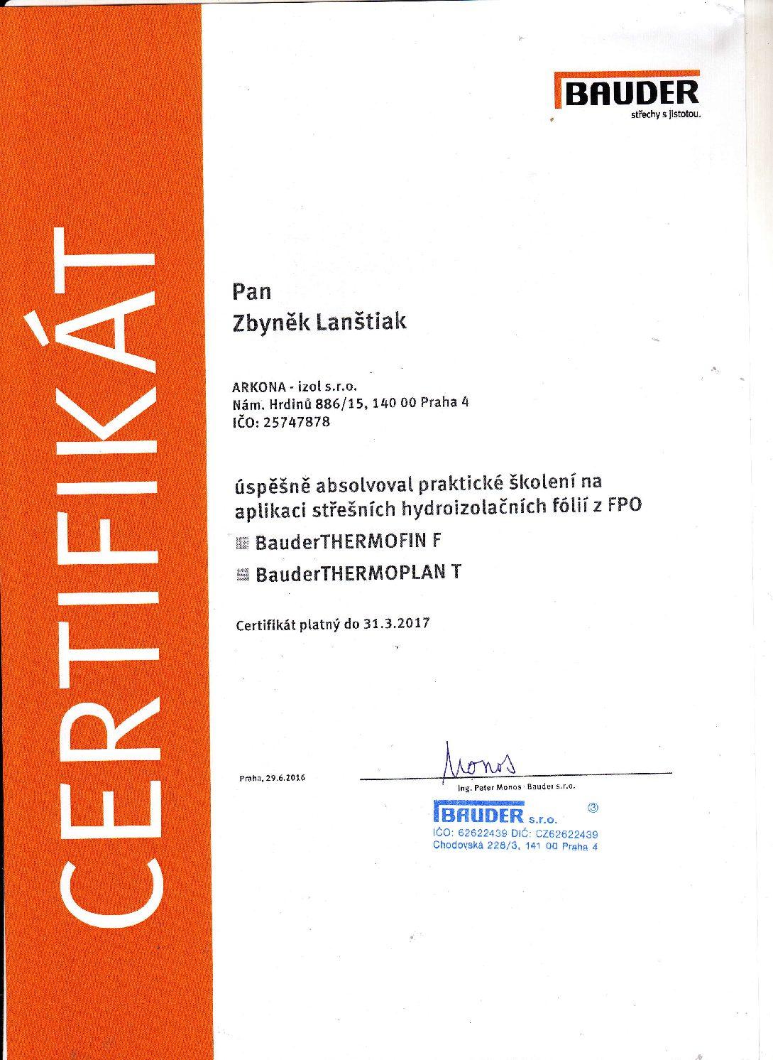 Arkona certifikát Bauder 2016