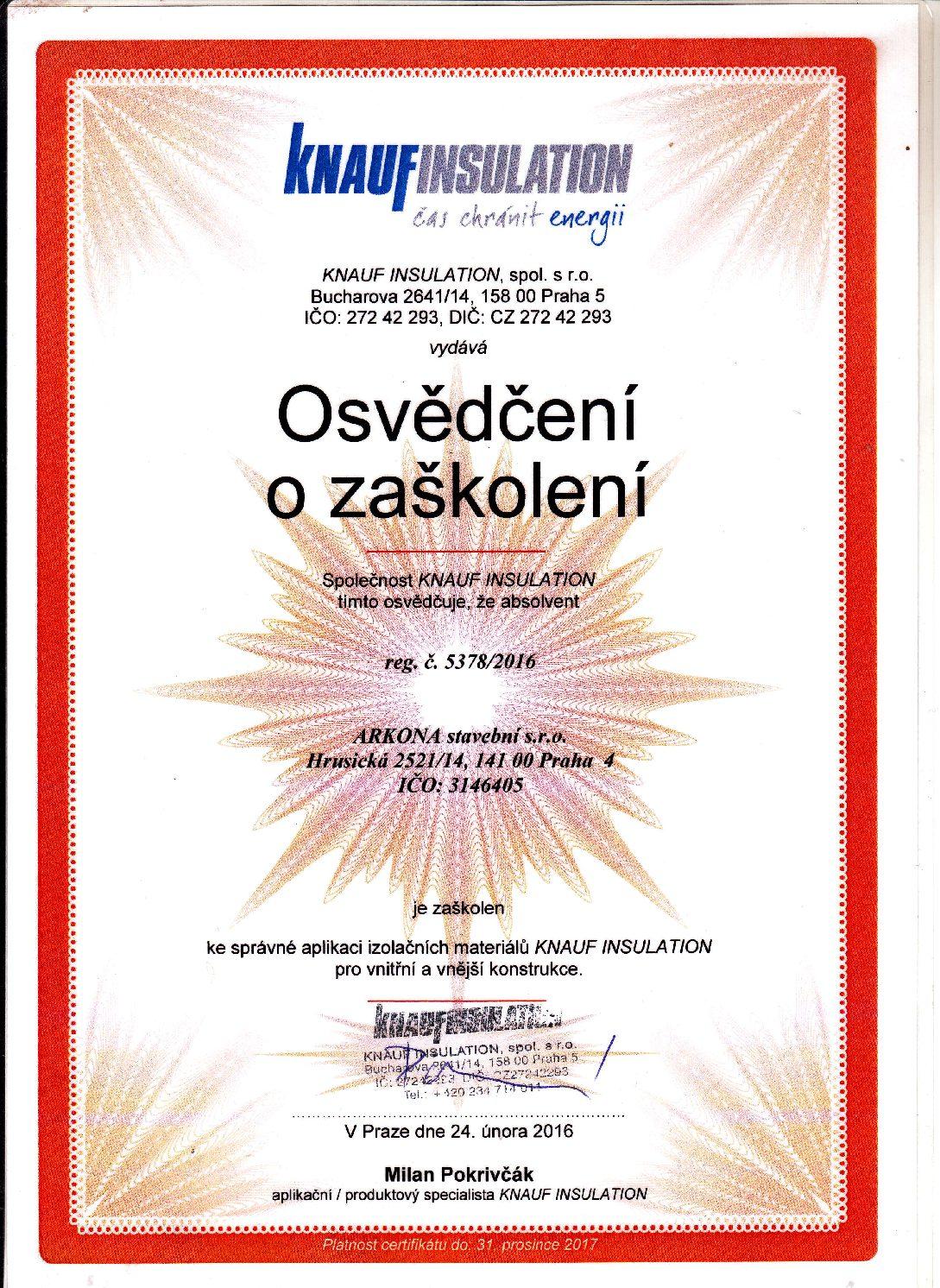 Arkona certifikát Knauf 2016
