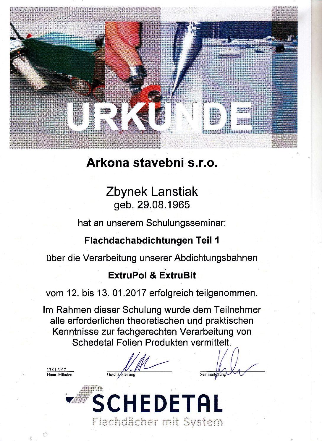 Arkona certifikát Schedetal 2017